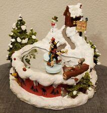 Disney Mickey Minnie Goofy Motion Figurine Music Box Tree Farm Ice Skating Pond