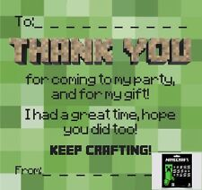 Thankyou Cards / Notes (duo) with Official Minecraft Sticker