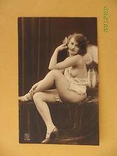 Original French 1910's-1920's Postcard Nude Risque Beautiful Lady Smoking #101