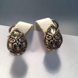 John Hardy Sterling Silver&18k Gold Smoky Topaz Hoop Earrings