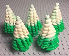 Lego Christmas Bulk Large Bright Green Pine Tree X5 Marbled White Snow Pattern