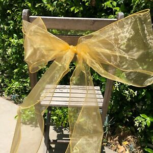 Lot of 10 Organza Sheer Chair Sashes/Runners/Ribbons/Bows for Party Brand New