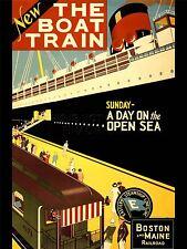 ART PRINT POSTER ADVERT TRAVEL TOURISM BOAT TRAIN BOSTON MAINE SHIP USA NOFL0517