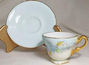 Paragon tea cup and saucer blue floral yellow butterfly RARE HARD TO FIND SIGNED