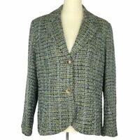Coldwater Creek Womens Blazer Size 14 Green Plaid Tweed Jacket Lined Velvet Cuff