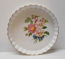 Quiche Frittata Dessert Serving Dish Scalloped Floral Pershore Royal Worcester