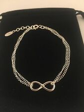 Sterling Silver 92.5 Infinity Bracelet 6.5-7.0 inches Double Chain ***NEW**