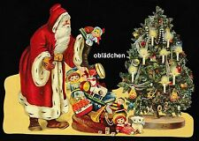 # GLANZBILDER # EF 5177 Bild - Karte / Riesenoblate : Weihnachtsmann mit Tanne