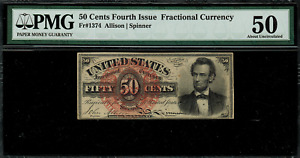 FR-1374 $0.50 Fourth Issue Fractional Currency - 50 Cent - Graded PMG 50