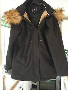 Kangol Black Jacket With Fur Lined Hood 16 Excellent Condition. Hardly Worn