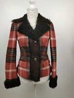 Missoni Wool Orange brown Jacket with real Curly Lamb fur IT 40 EU 34 UK 6 XS S