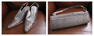 Ongaro Moda Heel Shoes, UK size 6, Euro size 39, US size 8 & matching bag - New