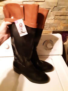 Serra Ladies Tall Riding Boots Black/Cognac (Brown) Size 10 - NWT