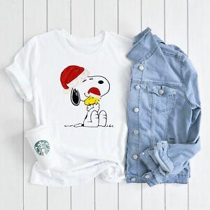 CHRISTMAS Santa Snoopy woodstock Hug love T-shirt Womens Cute woodstock