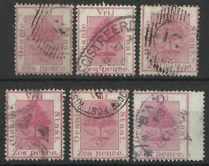 SOUTH AFRICA / ORANGE FREE STATE QV 1868-94 6d SHADES USED