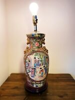 ANTIQUE CHINESE PORCELAIN FAMILLE ROSE ENAMEL VASE LAMP WOOD BASE obo
