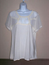 H&M Women Sheer Blouse Size L Top Lace Off white