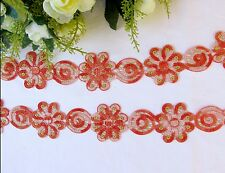 5 cm width Beautiful Orange Flower Venise Lace Trim