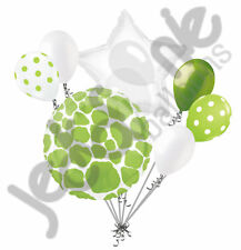 7 pc Lime Giraffe Print Balloon Bouquet Happy Birthday Baby Shower Animal Print