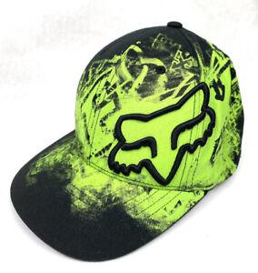 Fox Flexfit Rider Company Baseball Cap Hat Size S/M Neon Green Black