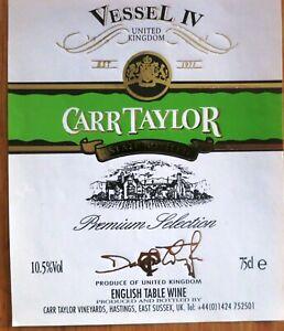 Etiquettes vin UNITED KINGDOM CARR TAYLOR Vessel IV English Table Wine  Labels
