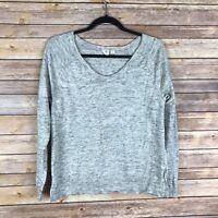 Gap Womens Sweater 100% Cotton Knit Scoop Neck Marled Gray Lightweight Size M