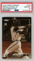 2018 Topps Chrome #193 Sepia Refractor RONALD ACUNA Rookie PSA GEM MINT 10