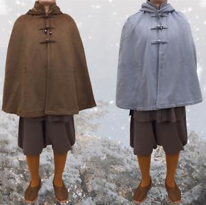 Shaolin monk cloak short medium-sized cloak thickened and velvet in winter