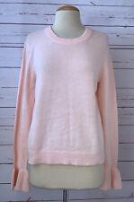 J CREW Womens Size M Cotton Knit Sweater Ruffle Trim Pink Peach