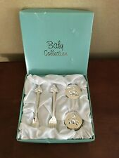 New Baby Collection Silver Plated Gift Set - Fork Spoon First Tooth Curl Boxes
