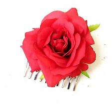 Red Rose Flower Hair Comb Bridesmaid Floral Rockabilly 1950s Headpiece Vtg 1936