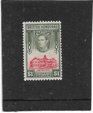 "BRITISH HONDURAS 1938 ""BELIZE COURT HOUSE"" $1 SCARLET & OLIVE SG.159 MOUNT MINT"
