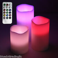 3Pc- 12 Color Changing LED Flameless Electronic Smokeless Candles & Remote Contr