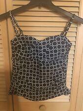 Catalina Womens Size M 8-10 Tankini Top Black White Circles
