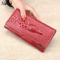 Women Wallet Handbag Money Holder 3D Crocodile Faux Leather Long Clutch