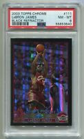2003-04 TOPPS CHROME LEBRON JAMES #111 BLACK REFRACTOR ROOKIE RC #134/500 PSA 8