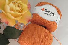 600 g Amara Orange Mandarin der TREND  NATUR  WOLLE Lana Lang Gedifra Baumwolle