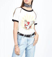 LAUREN MOSHI Soft Lightweight BRICE FLYING EAGLE SUN Raglan Tee Shirt TOP ( S )