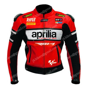 APRILIA Biker Racing Motorcycle Leather Jacket Mens Motorbike Leather Jackets