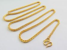 Real 999 Pure 24k Yellow Gold  Men Women Lucky Wheat Chain Necklace / 10.2g