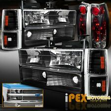 88-93 GMC Chevy Silverado Suburban Black Headlights + Signals + Smoke Tail Light