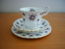 VINTAGE ROYAL ALBERT SWEET VIOLETS TRIO SET-FOOTED CUP SAUCER&SIDE PLATE ENGLAND