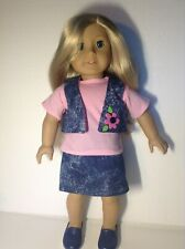 "PINK SHIRT, DENIM SKIRT, VEST AND SHOES  CLOTHES FOR 18"" AMERICAN GIRL DOLL"