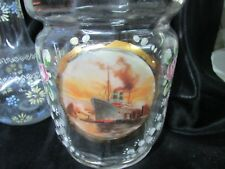 ANTIQUE ENAMEL PAINTED JAR WITH STEAM SHIP