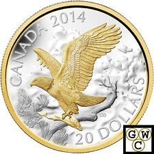 2014 Perched Bald Eagle Gold-Plated Proof $20 Silver Coin 1oz.9999 Fine(13915)NT