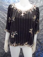 Women's Vintage 1980's Black & Gold Silk Sequin Blouse, Size M, Pre-Owned
