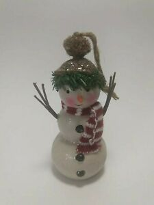 Snowman Christmas Tree Ornament with Branch Arms Red White Scarf Tan Hat Decor