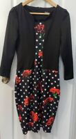 Fashion Mia Black And Red Floral Long Sleeve Dress Size Large