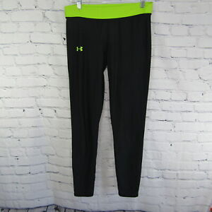 Under Armour Cold Gear Black and Green Fitted Yoga Workout Pants Women's Large