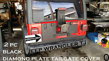 Jeep Wrangler TJ 2 pc black rubber coated Aluminum Diamond Plate Tailgate Cover